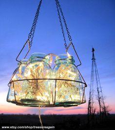Antique Blue Ball Jar Chandelier with 6 Jars, Canning Jar Basket, and Lights- Original Design