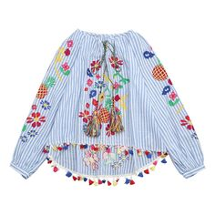 Tassels High Low Embroidered Blouse ($34) ❤ liked on Polyvore featuring tops, blouses, tassel blouse, embroidered blouse, embroidery blouses, stripe blouse and blue stripe blouse