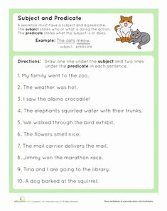 Complete Subject and Complete Predicate is part of subjects Of A Sentence - Get your third grader on board with the parts of a sentence with this worksheet that helps her practice identifying the subject and predicate of a sentence English Grammar Exercises, English Grammar Worksheets, Verb Worksheets, Grammar Lessons, Worksheets For Kids, English Verbs, Subject And Predicate Worksheets, Subject Verb Agreement, Writing