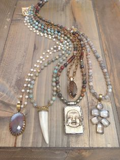 One of a kind necklaces with natural beads and unique pendants
