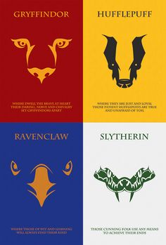 Houses of Hogwarts: Minimalist Poster series inspired by the Harry Potter film and novel series.