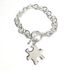 Autism Awareness Big Silver Puzzle Piece Bracelet