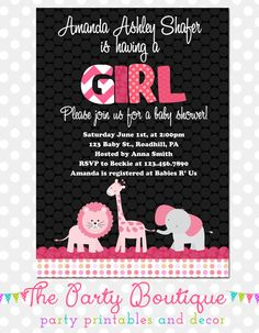 Jungle Animals Baby Girl Shower Invitation by APartyBoutique, $12.00