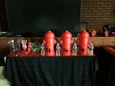 Fireman themed event - beverage station - DB Creativity