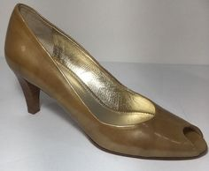 "Amalfi Sz. 6.5 Peep Toe Pump Beige Patent Leather Nude 3"" Heel Made In Italy #Amalfi #OpenToe #Casual"