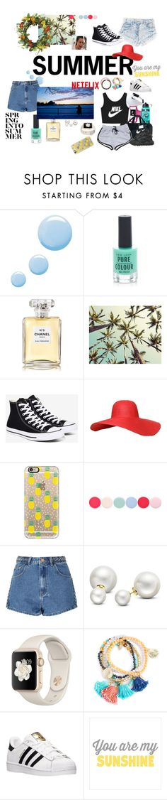 """(^O^)"" by jujuem ❤ liked on Polyvore featuring Topshop, New Look, Chanel, Converse, Casetify, Nails Inc., Glamorous, Allurez, Champion and adidas"