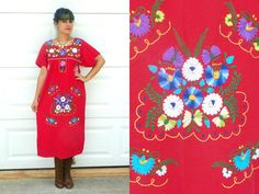 Vintage Red Mexican Embroidered Dress with Colorful Floral Embroidery M/L by Enchantedfuture on Etsy https://www.etsy.com/listing/201969270/vintage-red-mexican-embroidered-dress