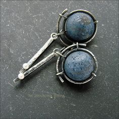 Strukova Elena  |   Earrings with coral unsaturated blue-bluish color and white pearls are made ​​from distressed silver.