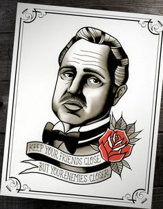 "The Godfather Don Corleone Traditional Tattoo Flash Print 11""x14"" (Other sizes available)"