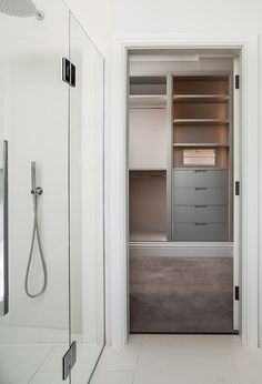 Frameless shower door with views back to the master dressing room, rain-shower with microphone handset, wet-room walk-in floor Architects London, Frameless Shower Doors, Walk In Shower Designs, Residential Architect, Walk In Wardrobe, Wet Rooms, Small Rooms, Dressing Room, Small Bathroom