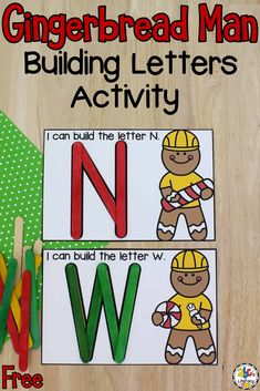 After reading The Gingerbread Man, it's fun to have some themed learning resources for your kids to do like this Gingerbread Man Building Letters Activity! This alphabet activity is a hand-on way for pre-readers to work on letter recognition, letter formation, fine motor skills, and much more! Click on the picture to get this free printable activity that will help your kids as they are learning the abc's! #letterrecognition #alphabetactivity #learningtheabcs #finemotorskills #finemotoractivity