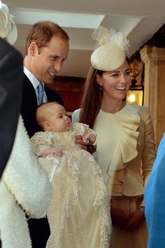 Prince George is christened in October 2013 at the Chapel Royal inside of London's St. James's Palace. The gown is a family heirloom that is a replica of a Victorian piece first used in 1841.