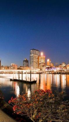 brisbane, australia, evening, river, bridge, lights, park