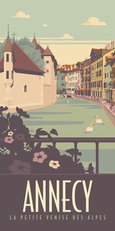 KAKÉMONODÉCO - Illustration vintage de la Vieille Ville d'Annecy - Décor mural en vente sur www.kakemonodeco.com