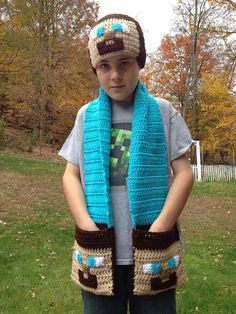 Minecraft Inspired Steve Beanie and Pocket Scarf - Crochet Hat, 2014 Halloween #2014 #Halloween