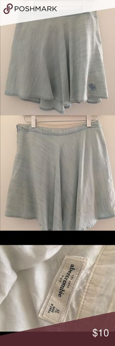 Abercrombie denim skater skirt Has one small yellow highlighter mark near the top of skirt but isn't visible unless you know it's there, from Abercrombie kids so child xl but fits like an adult small abercrombie kids Skirts Circle & Skater
