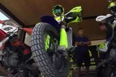 Watch The Video Seven-time MotoGP World Champion Valentino Rossi is captured sliding his dirt track machine around a flat TT circuit for the filming of a promotional video. Dirt Track, Dirtbikes, Valentino Rossi, Watch Video, Motogp, Yamaha, Circuit, Monster Trucks, Champion