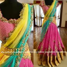 Classy comfortable luxury wedding Ensembles. Beautiful blush pink color lehenga and blouse with yellow and powder blue color combination net duptta. Lehenga and blouse with floret lata design hand embroidery zardosi work. 25 March 2018