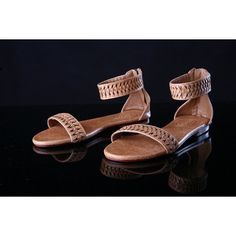 TAN LEATHER SANDALS for Women Shoes Size 9. Hand Woven Strap. Annabel... (£54) ❤ liked on Polyvore featuring shoes, sandals, genuine leather shoes, braided strap sandals, leather shoes, leather sandals and roman sandals
