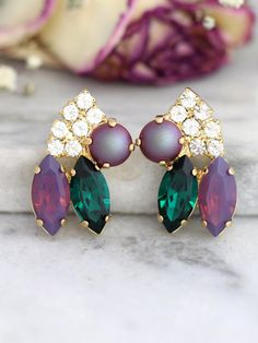 c4802c2cf56019 Emerald Purple Earrings Bridal Emerald Earrings Bridal Rose #bridalearrings  #giftsforher #bridesmaidearrings #SWAROVSKIearrings