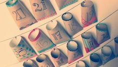 calendrier de l'avent avec des rouleaux de papier toilette