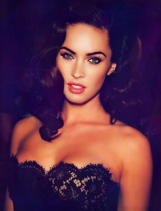 Hottest piece Megan Fox black wavy Hollywood and glamorous hair, sexy makeup