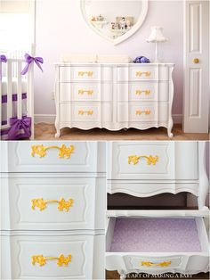 DYI Nursery Dresser: white and yellow {bought on craigslist for $150 with a side table, stripped, painted, lined shelves with fabric.