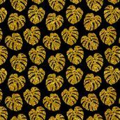 gold glitter monstera leaves - black, small by mirabelleprint