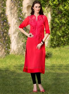 Fanciable Red Georgette Kurti