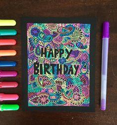 333 отметок «Нравится», 2 комментариев — Kaleb (@my_mandalaart) в Instagram: «My lettering is really bad but here's a birthday card I made using zentangle. Hope you like it  •…»