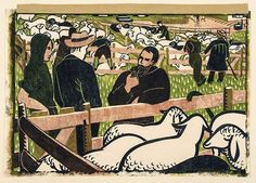 Lill Tschudi (1911-2004) - Sheepmarket, linocut printed in colours, 1946,