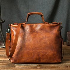 Handcrafted Vintage Genuine Full-gain Leather Briefcase Handbag Men's Laptop Bag Crossbody Bag 246