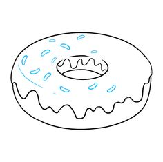 Learn to draw a tasty donut. This step-by-step tutorial makes it easy. Kids and beginners alike can now draw a great looking dougnut. Donut Drawing, Color Crafts, Art Journal Pages, Learn To Draw, Easy Drawings, Donuts, Alphabet, Coloring, Boys