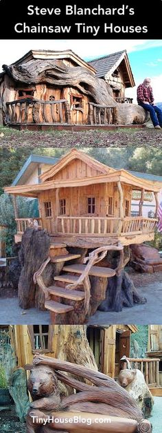 Steve Blanchard's Chainsaw Tiny Houses Tiny House Blog, Tiny House Nation, Tiny House Plans, Tiny House Living, Small Living, Living Spaces, Stone Cabin, Cool Tree Houses, Fairytale Cottage