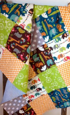 Organic Baby Quilt Modern Safari Soiree Gender by CoolSpool, $125.00