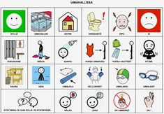 Kommunkaatiotaulu mukaan uimahallireissulle. Tulosta ja sujauta mukaan uimakassiin! Finnish Language, Communication, Clip Art, Education, School, Cards, Maps, Onderwijs, Communication Illustrations
