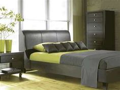 I love the three color together....Contemporary-dark-gray-bedroom- furniture-with-light-green-decor