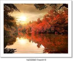 Landscape rustic autumn river bridge Canvas Wall Art Print Large Any Size