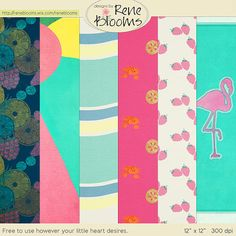 FREE Summer Splash Papers by Rene Blooms: Pixel Scrapper July Blog Train 2015