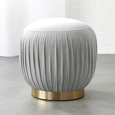 Designed by Euga Design Studio, rich velvet goes 360 with flirty folds as soft seating or stand-alone ottoman. Round brass base pulls it all together with flourish. Grey Ottoman, Modern Ottoman, Ottoman Stool, Modern Armchair, Couch Ottoman, Tufted Bench, Upholstered Chairs, Modern Furniture, Furniture Design