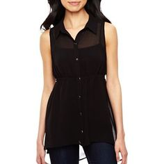 High-Low Sleeveless Tunic Blouse - jcpenney