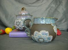 Ceramic Sugar and Creamer Set with Poppy Flowers in Dusk Purple and Black Mountain Sally Anne Stahl @ www.clayshapergallery.com
