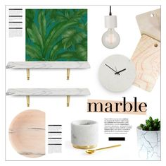 """""""classic elegance: marble home"""" by jesuisunlapin ❤ liked on Polyvore featuring interior, interiors, interior design, home, home decor, interior decorating, Hawkins, Versace, DENY Designs and CB2"""