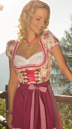 Midi Dirndl beere mit Bluse - Leona