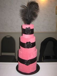 Black and Pink Towel Cake