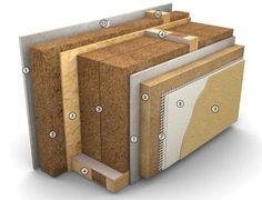 principe de construction durable pour projet d'architecture en belgique france ou suisse ch PASSIVE ECO Mur extérieur 452 mm Rw (Indice d'affaiblissement acoustique) > 49 dB U (Coefficient de transfert thermique) = 0.11 W/m²K REI (Résistance au feu) = 60 min  1. Plaque plâtre fibres 15 mm 2. Isolation - plaque bois fibres 60 mm 3. Plaque OSB 3 15 mm 4. Bois de construction portant - porteur thermique 280 mm 5. Isolation - plaque bois fibres 2×140 mm 6. Isolation - plaque bois fibres 6