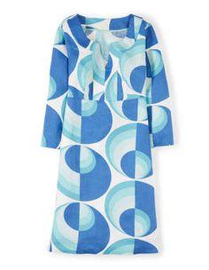 Blue Retro Spot Casual Linen Tunic
