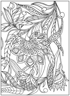 Flowers & Leafs Design Coloring | Floral Coloring Pages | Pinterest ...