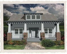 Sofia Louise - 1508 sq. ft. 3 bed, 2 bath. You won't waste space for hallways in this house! With gabled or shed dormer. Spacious master suite, bath, bedroom, & office. Large kitchen area with bar to dining area. Open living plan, with Craftsman columns/half wall separating the dining and living areas.