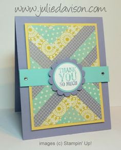 Julie's Stamping Spot -- Stampin' Up! Project Ideas Posted Daily: VIDEO: Herringbone Faux Quilt Technique Tutorial